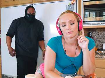 Big ass blonde AJ Applegate sucks the black snaked of the huge mysterious perpetrator in the kitchen
