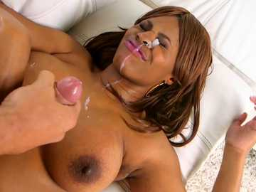 Solah Laflare gets cum on her chocolate tits after intense banging