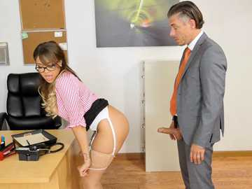 Brunette secretary Cassidy Banks caught jerking at work fantasies in office