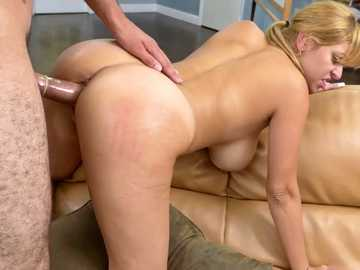 Curvy blonde Jazmyn saves the day and fills in the role of horny chick, who loves being fucked hard