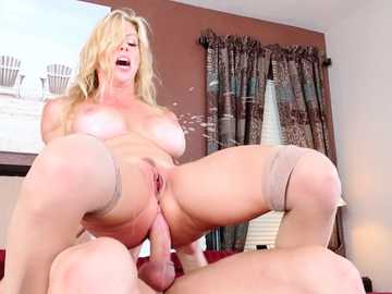 Hot and heavy-titted blonde Alexis Fawx rides the thick cum gun and sucks it afterwards