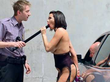 Exhibitionist session in parking of brunette Veronica Avluv ceased by officer