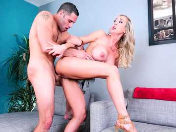 High-heeled lady Brandi Love has her trimmed pussy done dirty way by young guy